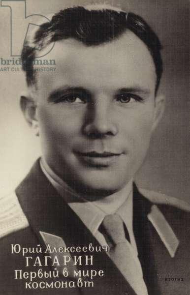 Soviet cosmonaut Yuri Alekseyevich Gagarin, first man in space, 1961 (b/w photo)