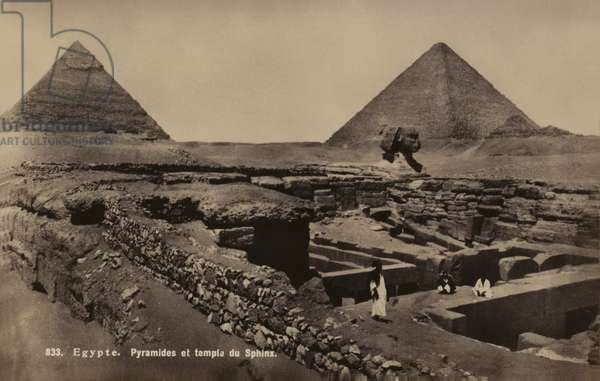 Pyramids and Temple of the Sphinx, Giza, Egypt (b/w photo)