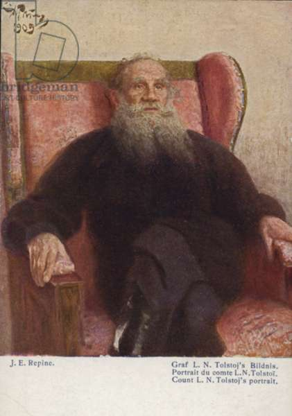 Count L N Tolstoy (coloured lithograph)