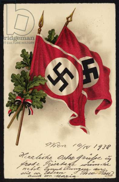 Nazi propaganda postcard commemorating the Anschluss between Germany and Austria, 1938 (colour litho)