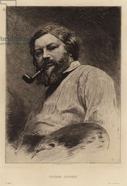 Gustave Courbet, French painter of the Realist movement. Etching by Etienne Gabriel Bocourt (etching)