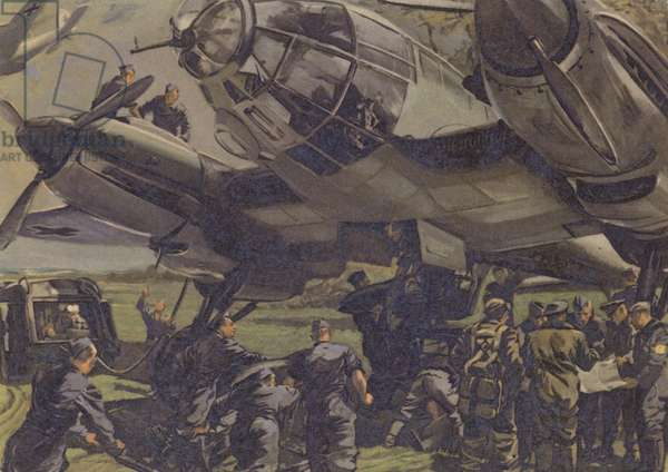 German bomber being readied for a mission, World War II (colour litho)