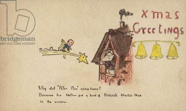 Christmas Greetings: advertisement for Horlick's Malted Milk (colour litho)