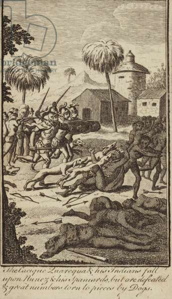 Spanish conquistador Vasco Nunez de Balboa's soldiers and dogs defeating indians who had attacked them (engraving)