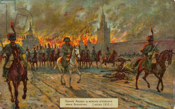Departure of Napoleon from Moscow (colour litho)