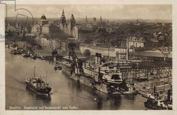 Postcard depicting a general view of the city of Stettin (b/w photo)
