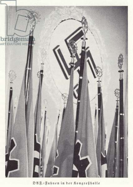 Flags of the German Labour Front in the Congress Hall, Nuremberg Rally, 1936 (b/w photo)