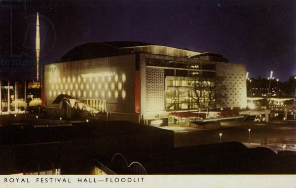 Royal Festival Hall, floodlit, South Bank LondonFestival of Britain, 1951 (coloured photo)