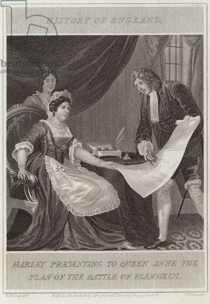 Harley presenting to Queen Anne the plan of the battle of Blenheim (engraving)