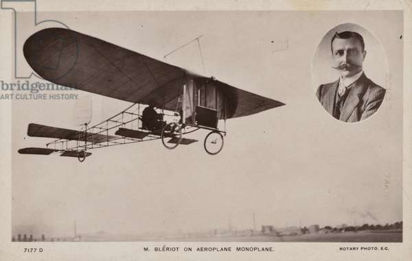 French aviator Louis Bleriot and a Bleriot monoplane (b/w photo)