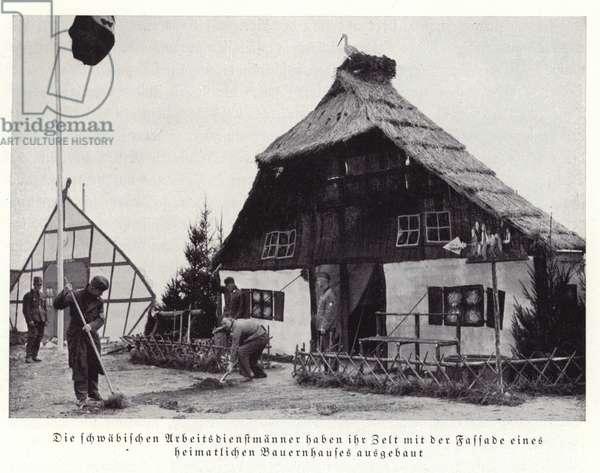 Decorated tent of men of the Swabian Arbeitsdienst, Nuremberg, 1936 (b/w photo)