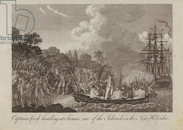 Captain Cook landing at Tanna (engraving)