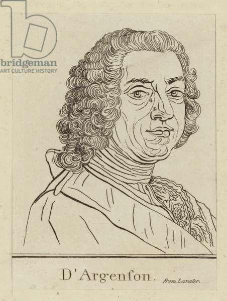 Marc-Pierre de Voyer de Paulmy d'Argenson, French statesman (engraving)