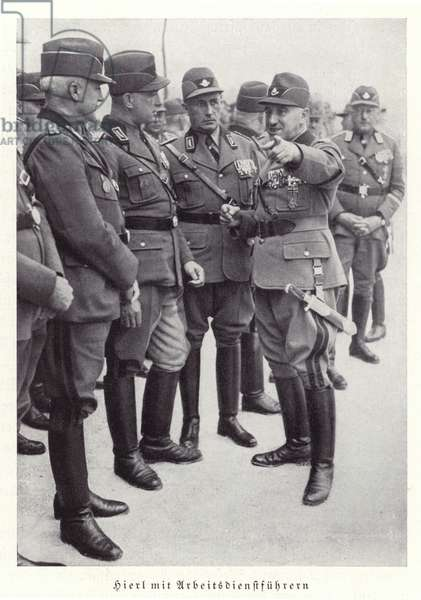 Konstantin Hierl with other leaders of the Reichsarbeitsdienst, Nuremberg, 1936 (b/w photo)