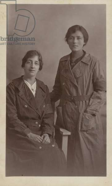 Two female munitions workers, World War I (b/w photo)
