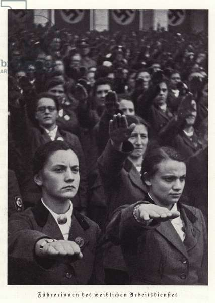 Leaders of the women's section of the Reichsarbeitsdienst (Reich Labour Service), Nuremberg Rally, 1936 (b/w photo)