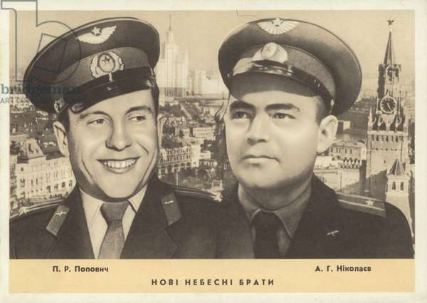 Soviet cosmonauts Pavel Popovich (left) and Andriyan Nikolayev, with Moscow in the background, 1962 (b/w photo)