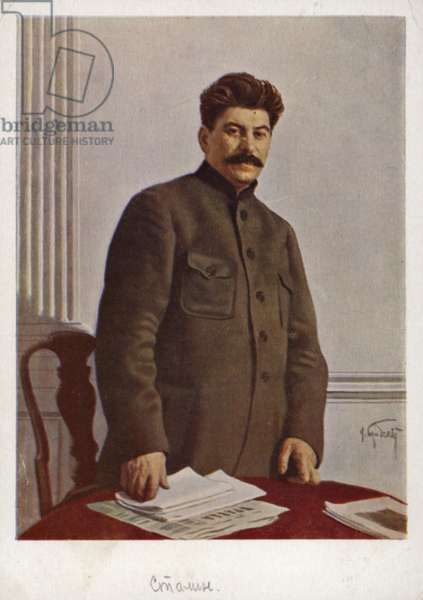 Joseph Stalin, Soviet Bolshevik leader (colour litho)