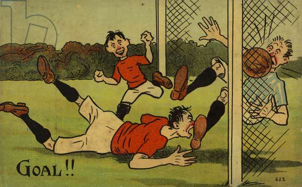 Cartoon depicting a footballer scoring a goal (colour litho)