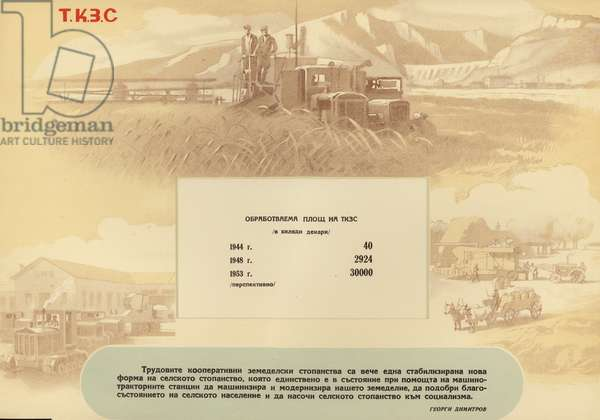 Bulgarian communist propaganda showing the expansion of the workers cooperative farms, 1953 (colour litho)