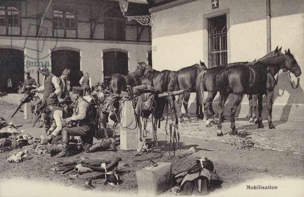 Mobilisation, World War I (b/w photo)