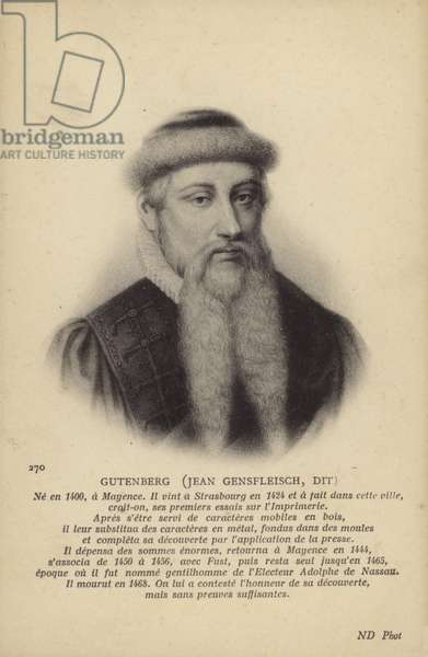 Johannes Gutenberg (c1395-1468), German inventor, engraver and printer (litho)