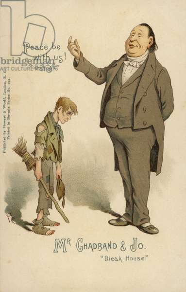 Mr Chadband and Jo, from Bleak House, by Charles Dickens (colour litho)