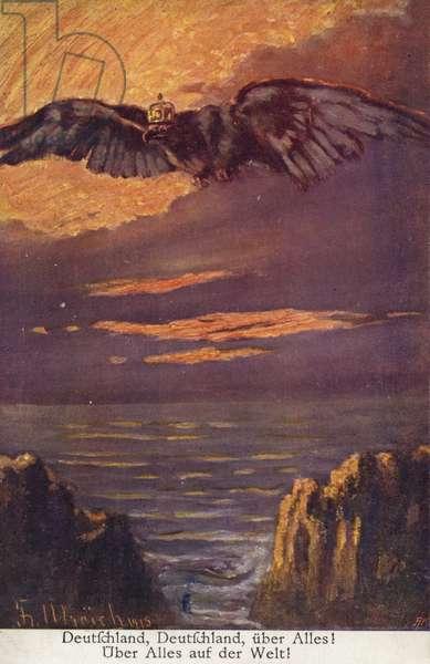 Deutschland, Deutschland uber Alles! German First World War propaganda postcard, 1915 (colour litho)