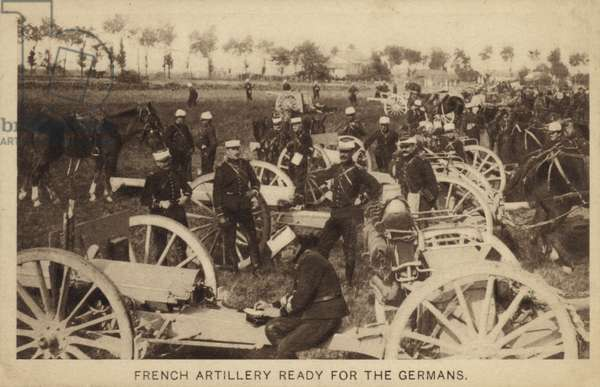 French artillery ready for the Germans, World War I (b/w photo)