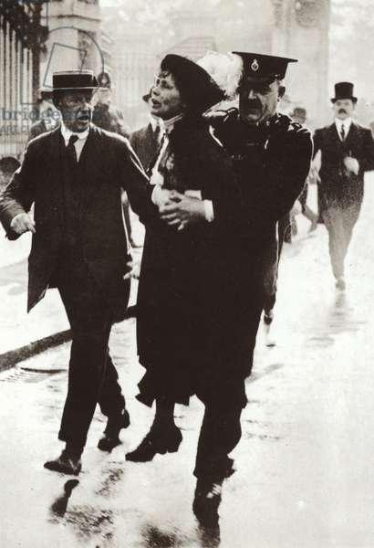 Arrest of Emmeline Pankhurst outside Buckingham Palace, London, 21 May 1914 (b/w photo)