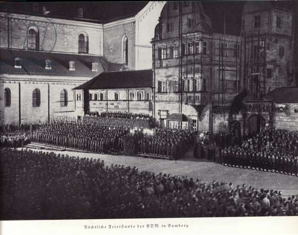 Night-time celebrations of the League of German Girls, Bamberg (b/w photo)