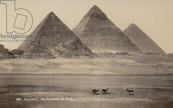 Pyramids of Giza, Egypt (b/w photo)