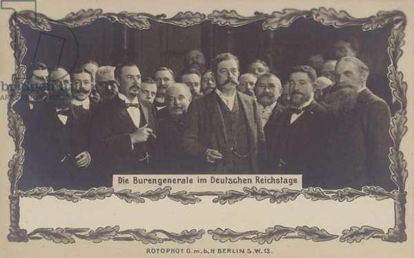 Postcard depicting the Buren generals in the German Reichstag (b/w photo)