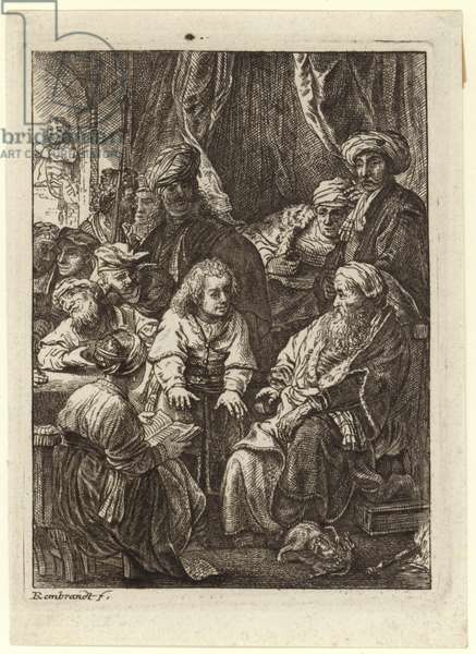 A crowd of people gathered around a seated old man (engraving)
