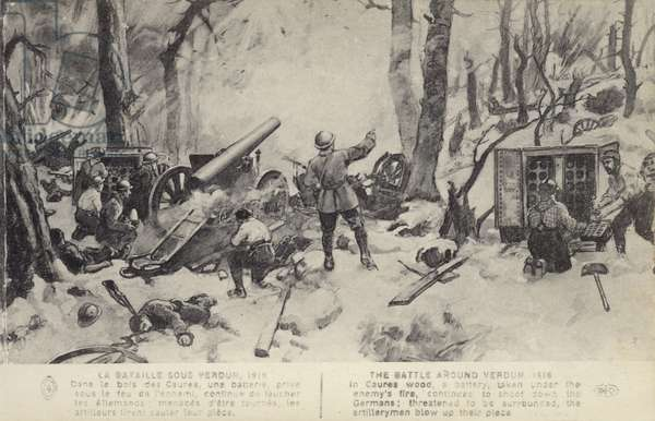 French artillery in action at the Battle of Verdun, World War I, 1916 (litho)
