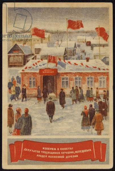 Elections in Soviet Union (colour litho)