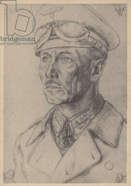 Erwin Rommel, German Second World War general (litho)