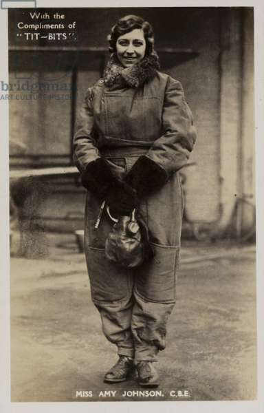 Amy Johnson, British aviator (b/w photo)