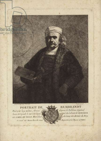 Rembrandt, Self Portrait of the Dutch painter and etcher (etching)