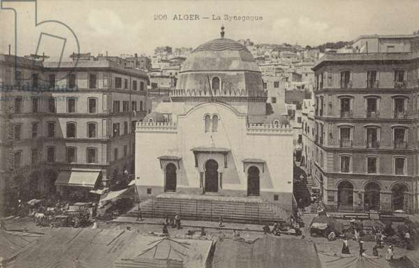 The synagogue, Algiers, Algeria (b/w photo)