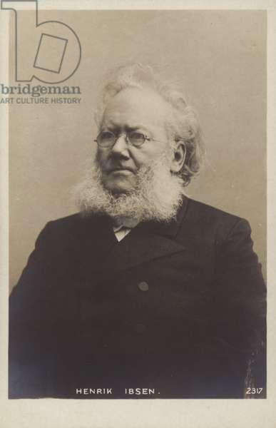 Henrik Ibsen (1828-1906), Norwegian playwright (b/w photo)