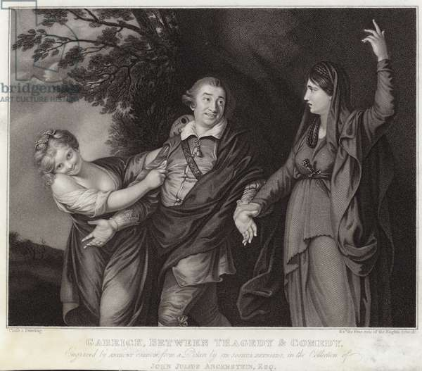Garrick between tragedy and comedy (engraving)