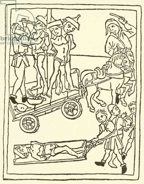Jews being dragged off to martyrdom, 1475 (woodcut)