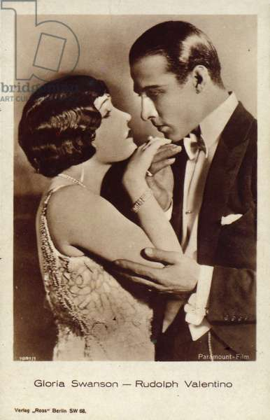 Gloria Swanson, Rudolph Valentino (b/w photo)