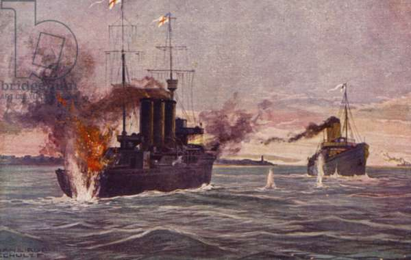 Destruction of a British minesweeper, World War I (colour litho)