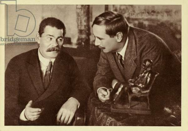 H G Wells and Maxim Gorky (b/w photo)