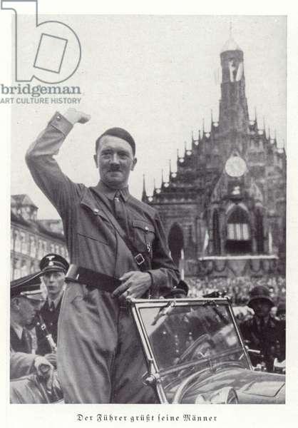 Hitler greeting his men, Nuremberg Rally, 1936 (b/w photo)