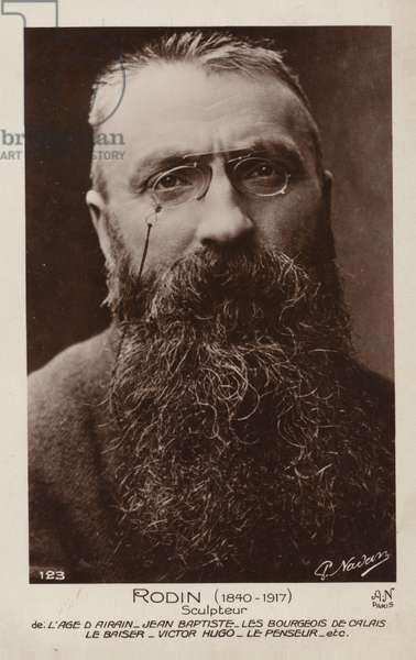 Auguste Rodin, French sculptor (b/w photo)