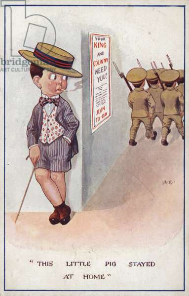 Smartly dressed conscientious objector being left behind by soldiers (colour litho)