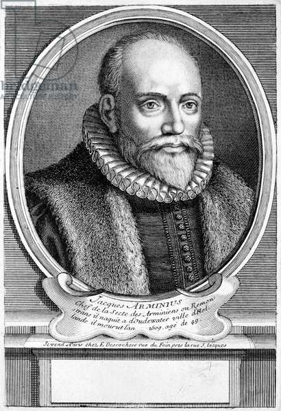 Jacobus Arminius, Dutch theologian of the Protestant Reformation (engraving)